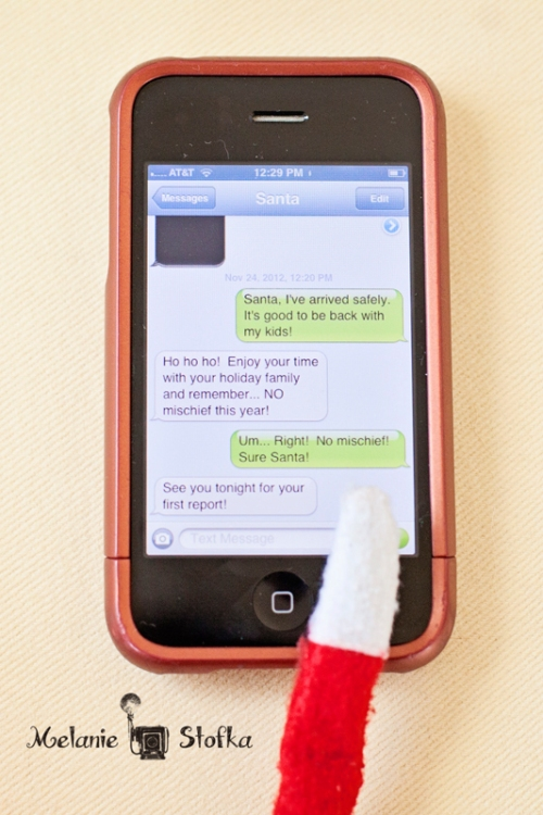 """Enlist a """"co-conspirator"""" and change their contact info to Santa.  Voila!  Instant elf texting!"""