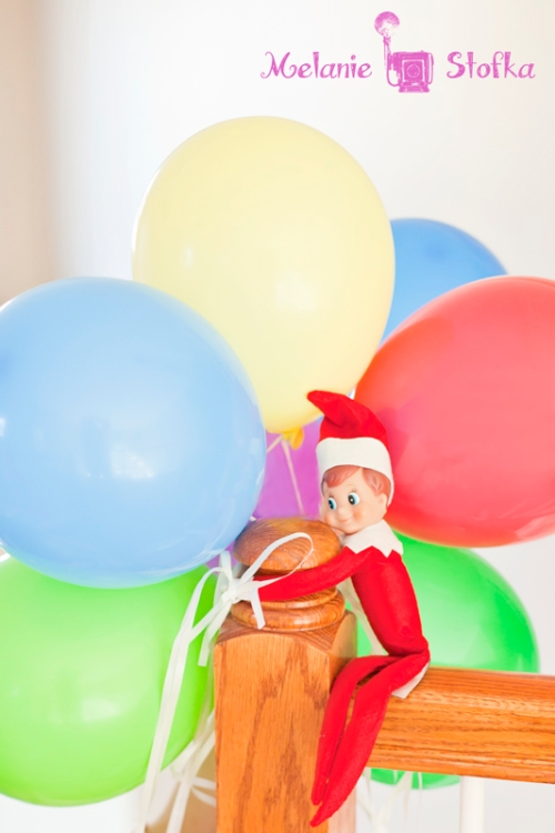 Balloons Elf on the Shelf. Click for more ideas! #elfontheshelf