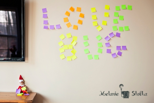 Love Bug tagged our wall with Post It Note graffiti!