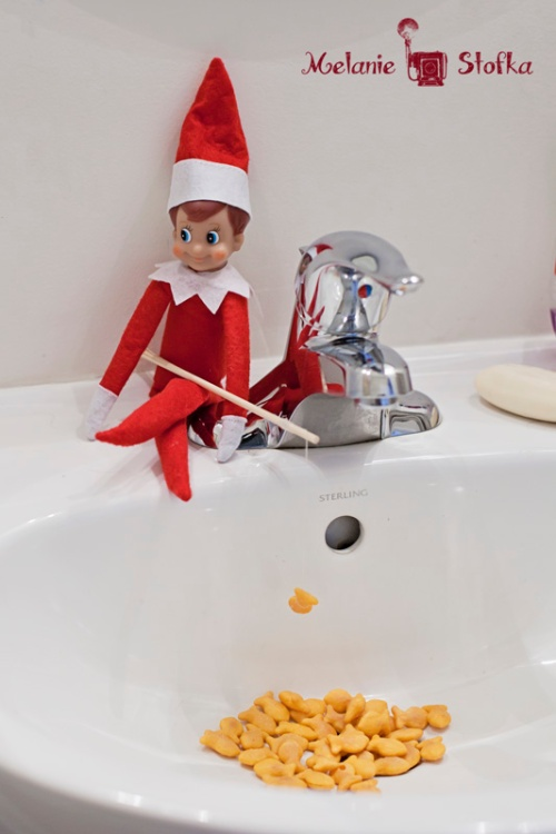 Fishing Elf on the Shelf. Click for more ideas! #elfontheshelf