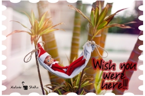 "Elf on the Shelf sends a postcard from his ""vacation."""